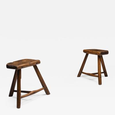 Set of rustic wabi sabi wooden milk stools 1850s