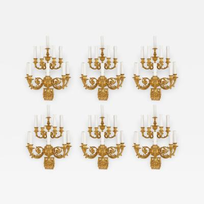 Set of six French Empire style gilt bronze sconces