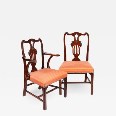 Set of six Irish George III period mahogany dining chairs