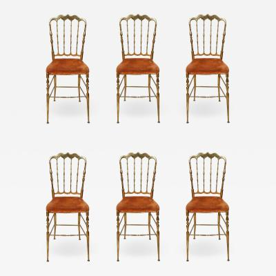 Set of six brass spindle back antique Chiavari dining chairs