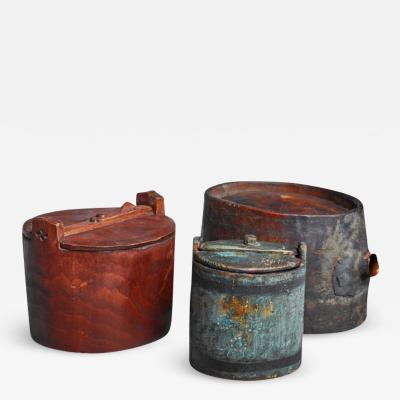 Set of three folk art wood pieces Sweden 19th century