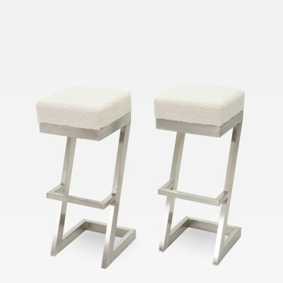 Set of two French brushed steel boucl bar stools 1970s