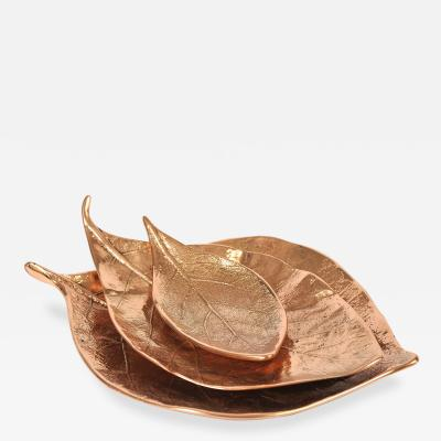 Set ot three bronze leaf bowls