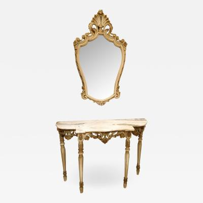 Set with Console Marble Top Giltwood Table Mirror Louis XV Style France 1920s
