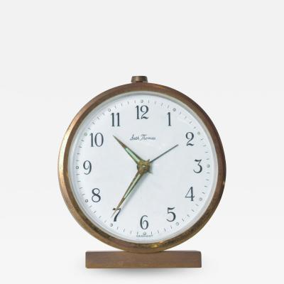 Seth Thomas Midcentury German Brass Alarm Clock Elegant Miniature Wind Up Seth Thomas 1950s