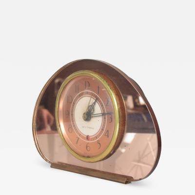 Seth Thomas Seth Thomas Sequin Art Deco Glam Pink Copper Mirror Vanity Table Clock 1940s