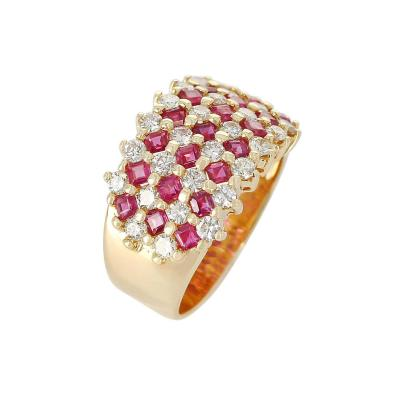 Seven Row Patterned Ruby and Diamond Ring 18 Karat Yellow Gold