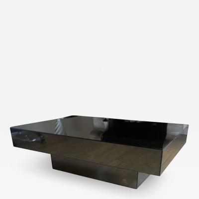 Seventies Big Square Pure Design Black Mirrored Coffee Table