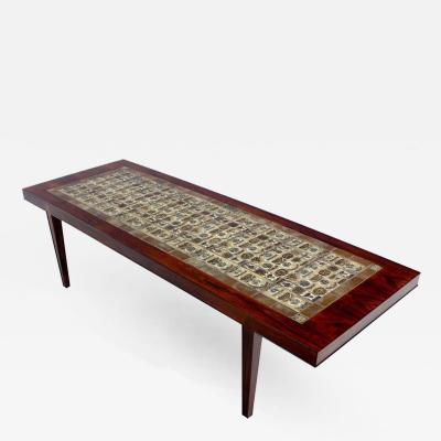 Severin Hansen Danish Modern Rosewood Coffee Table by Severin Hansen w Royal Copenhagen Tiles