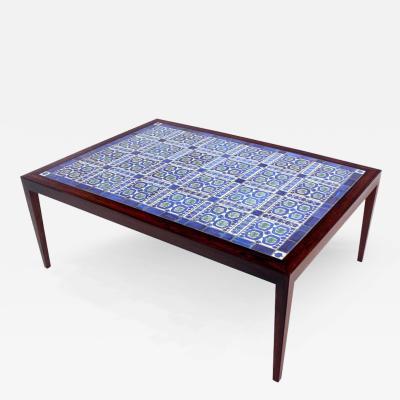 Severin Hansen Danish Modern Rosewood Coffee Table w Royal Copenhagen Tiles by Severin Hansen