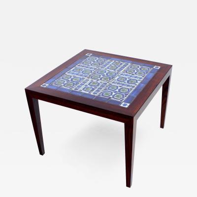 Severin Hansen Danish Modern Rosewood Side Table w Royal Copenhagen Tiles by Severin Hansen