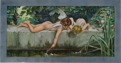 Severin Kramolis Art Deco Painting on Ceramic Tiles 1920s
