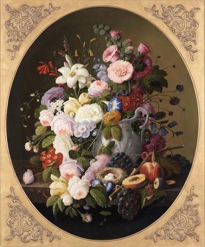 Severin Roesen Floral Still Life with a Birds Nest oval c 1870