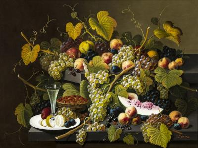 Severin Roesen Two Tiered Still Life of Fruit