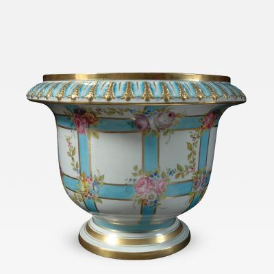 Sevres Large Jardini re with Blue Bandings and Pink Flowers