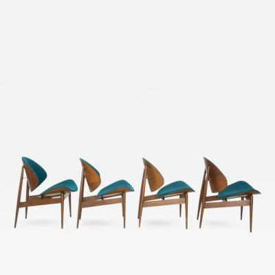 Seymour J Wiener Set of 4 Kodawood Bentwood Clam Chairs with Teal Upholstery