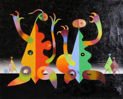 Seymour Zayon Modern Surrealist Painting by American Surrealist Seymour Zayon