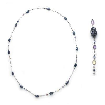 Shaded Sapphire Diamond Gold Long Chain Necklace