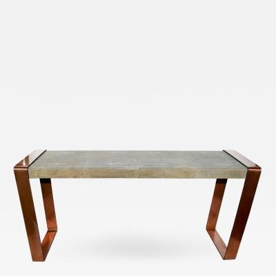 Shagreen Console Table with Copper Details