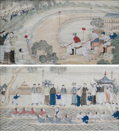 Shanghai Race and Rowing Club Pair of Silk Paintings