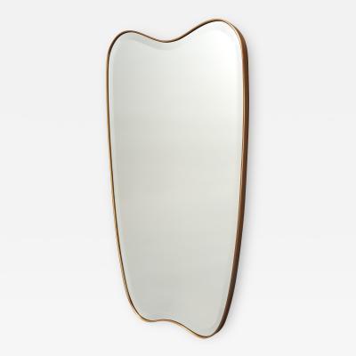 Shaped Brass Mirror Italy 1950s