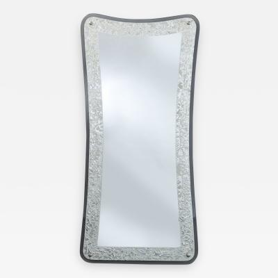 Shaped Silver Framed Italian Mirror 1950s