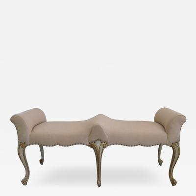 Shapely French Louis XV Style Pale Green Painted Double Seated Bench