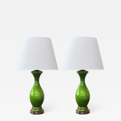 Shapely Pair of 1960s Apple Green Cased Glass Baluster Form Lamps