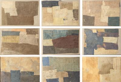 Sharon Simonaire Set of Nine Framed Collage Artworks