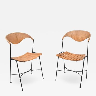 Shaver Howard Arthur Umanoff Pair of Wood Slat Wrought Iron Dining Chairs 1950s