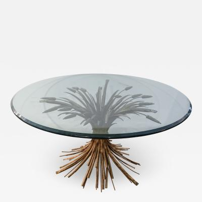Sheaf of Wheat Metal Coffee Table with Glass Top 1950s