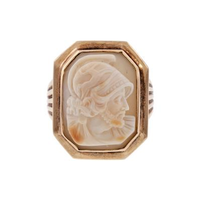 Shell Cameo Victorian Gentlemans Antique Ring