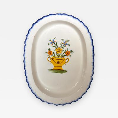 Shell edge Prattware Oval Dish painted with An Urn of Flowers
