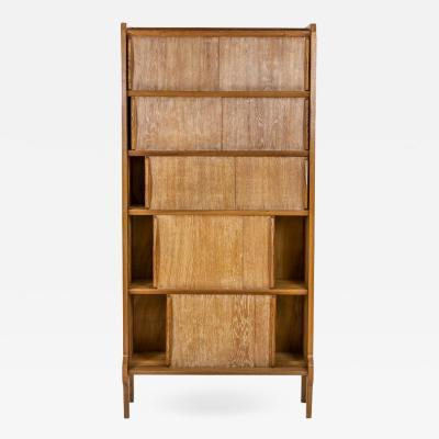 Shelves bookcase in blond oak 1950s