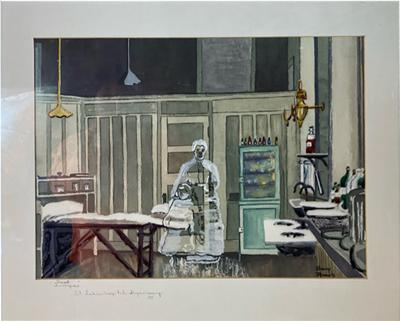 Sherry Plano GHOSTLY FIGURES INSIDE HOSPITAL DISPENSARY WATERCOLOR BY SHERRY PLANO