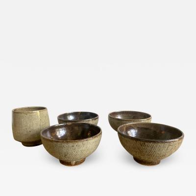 Shimaoka Tatsuzo Five Japanese Mingei Ceramic Bowls Tatsuzo Shimaoka