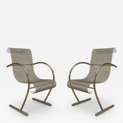 Shiro Kuramata Pair of Japanese Post War Design 1960s Steel Wire Mesh Sing Sing Armchairs