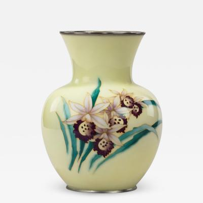 Showa Period Pale Yellow Cloisonn Vase by Tamura