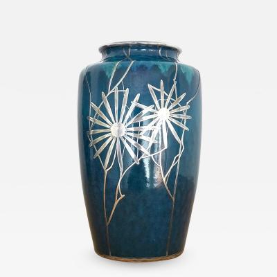 Shreve Co An Art Nouveau Vase with Shreve Co Silver Overly