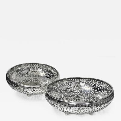 Shreve Crump and Low Pair Sterling Silver Fruit Bowls Shreve Crump Low San Francisco C 1900