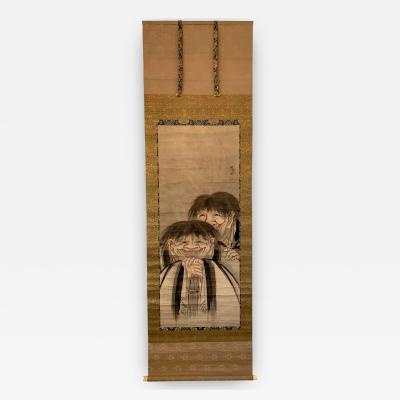 Shukei Shukei Large Antique Zen Japanese Ink Scroll After Sesson Shukei
