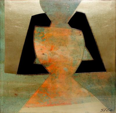 Sica Sica Abstract Metallic Art Under Lucite 1980s