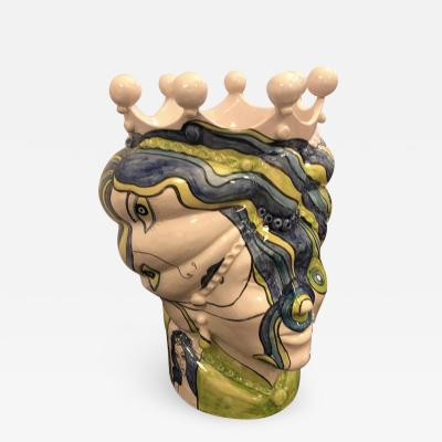 Sicilian Unique Hand Painted White Clay Vase in Pop Art Style