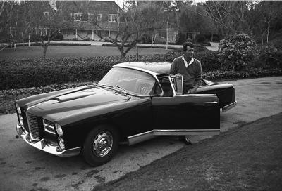 Sid Avery Dean Martin and his Facel Vega HK500 in the Driveway of his Beverly Hills Home