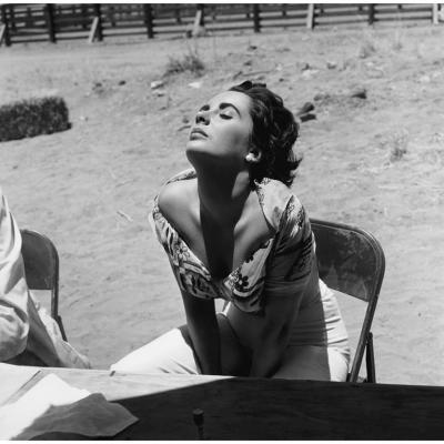 Sid Avery Elizabeth Taylor Sunning Herself while on location for the film Giant