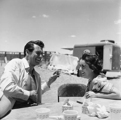 Sid Avery Rock Hudson and Elizabeth Taylor on Location for Giant in Marfa Texas