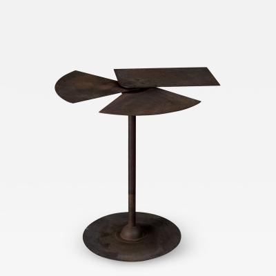 Side Table with Metal Leaves