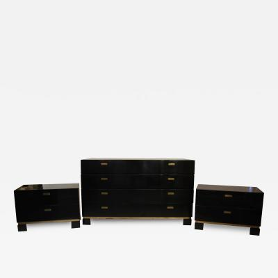 Sideboard and Pair of Drawers Wood and Gilt Brass Circa 1970 France