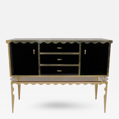 Sideboard in Black Glass and Brass Italy 2016