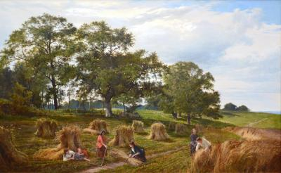 Sidney Richard Percy Cornfields near the Coast 19th Century Royal Academy Landscape Oil Painting